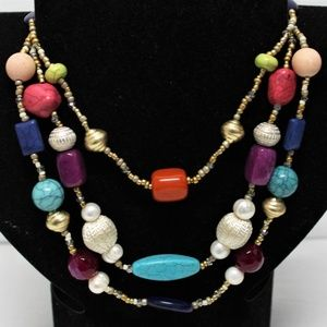 Chico's Candy Illusion multi strand boho necklace